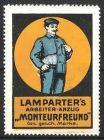 Reklamemarke Monteurfreund, Lamparter\'s Arbeiter-Anzug, Arbeiter mit neuer Arbeitskleidung