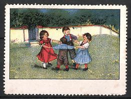 Reklamemarke Kinder tanzen im Kreis, Ringelreihen