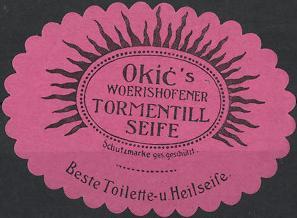 Reklamemarke Wörishofen, Okic's Tormentill Seife, Toilette - und Heilseife