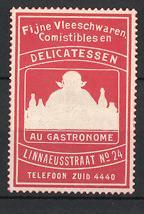 Reklamemarke Amsterdam, Fijne Vleeschwaren Comistibles en Delicatessen, Linnaeusstraat No. 24, Mann im Restaurant