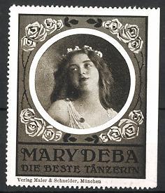 Reklamemarke Portrait der Tänzerin Mary Deba, Rosenverzierung