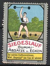 Reklamemarke Düsseldorf, Siegeslauf Gummiabsätze & Ecken, Gewichtheber stemmt Langhantel
