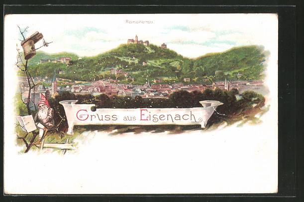 Lithographie Eisenach, Panorama, Zwerg auf einem Ast