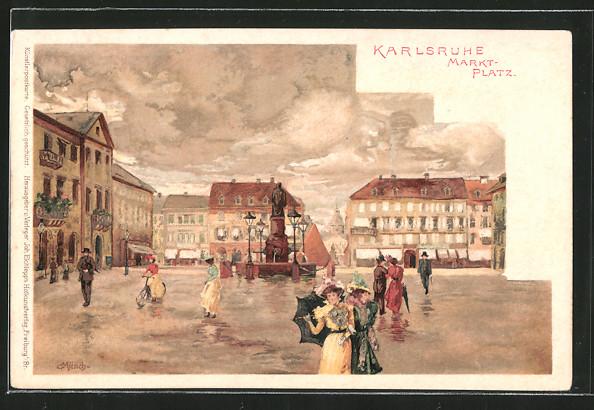 Künstler-AK Carl Münch: Karlsruhe, Passanten auf dem Marktplatz