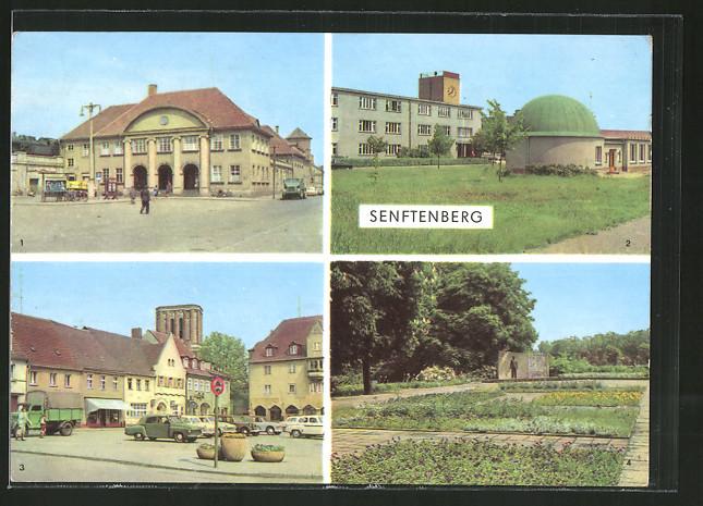 AK Senftenberg, Bahnhof, Planetarium, Platz der Freundschaft, Ehrenmal