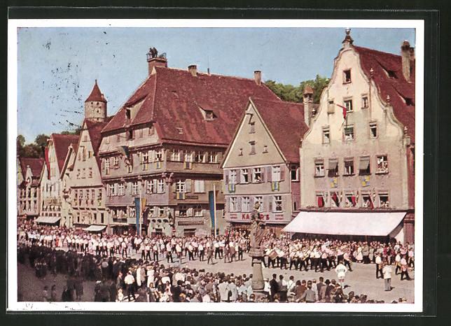 AK Biberach, Schützenfest, Festzug auf dem Marktplatz