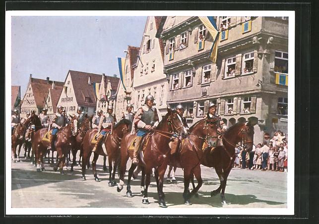 AK Biberach, Schützenfest, Kaiserliche Reiter mit Haus Kleeblatt