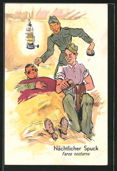 AK Nächtlicher Spuk, Soldaten erlauben sich einen Spass mit ihrem Kameraden