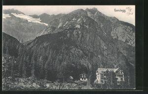 AK Handegg, Ortsansicht mit Alpenpanorama