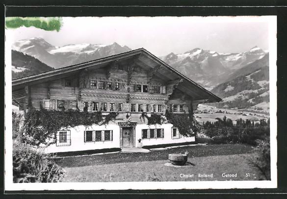 AK Gstaad, Chalet Roland mit Alpenpanorama