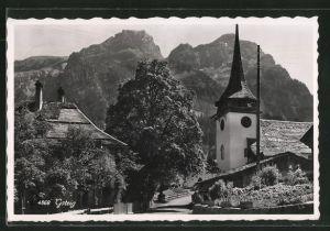 AK Gsteig, Kirche mit Alpenpanorama