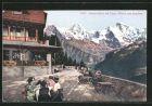 AK Harder, Terrasse des Harder-Hotels mit Blick auf Eiger, M�nch und Jungfrau