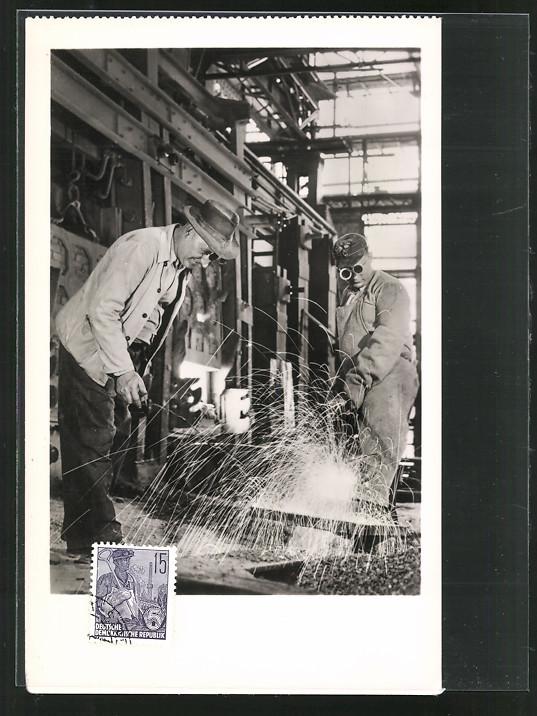 Maximum-AK 10 Jahre DDR 1959, Fabrikarbeiter bei der Arbeit