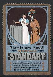 Reklamemarke Standart, Aluminium - Email, Dienstmädchen streicht Heizkörper an