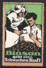 Reklamemarke Bioson Kr�ftigungspr�parat, Krankenschwester reicht Patient Bioson, gr�n