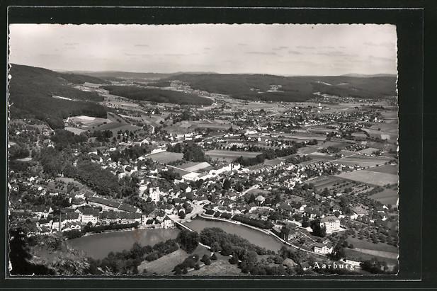 AK Aarburg, Luftaufnahme der Stadt