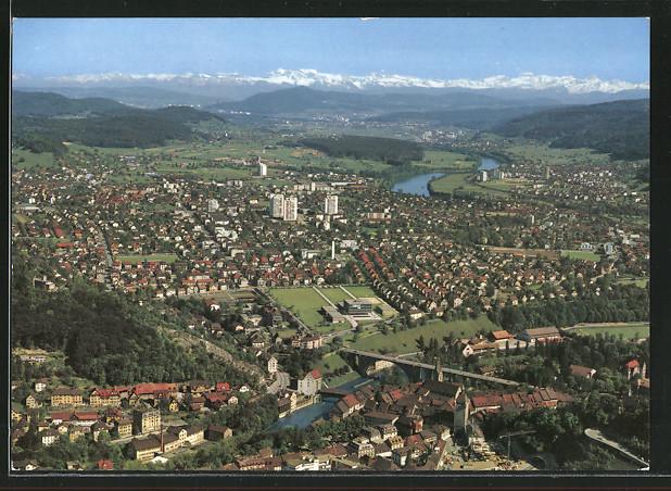 AK Wettingen-Neuenhof, Totalansicht aus der Vogelschau