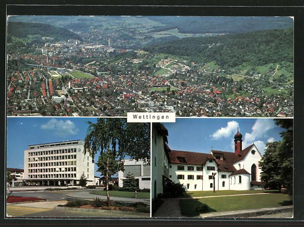 AK Wettingen, Gesamtansicht, Rathaus & Klosterkirche