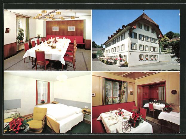 AK Lenzburg, Hotel Krone mit Gasträumen