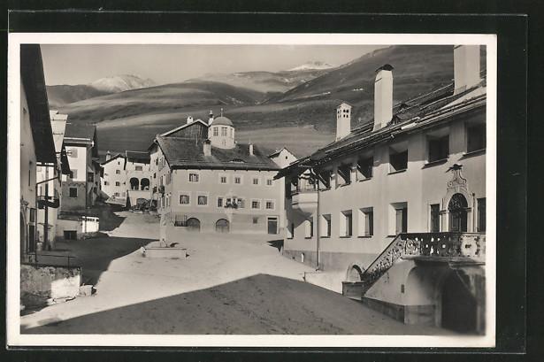 AK Zuoz, Blick auf den Dorfplatz