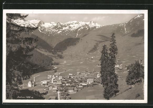 AK Sedrun, Blick auf den Ort im Tal