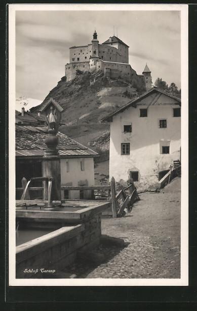 AK Tarasp, Dorfpartie mit Schlossblick