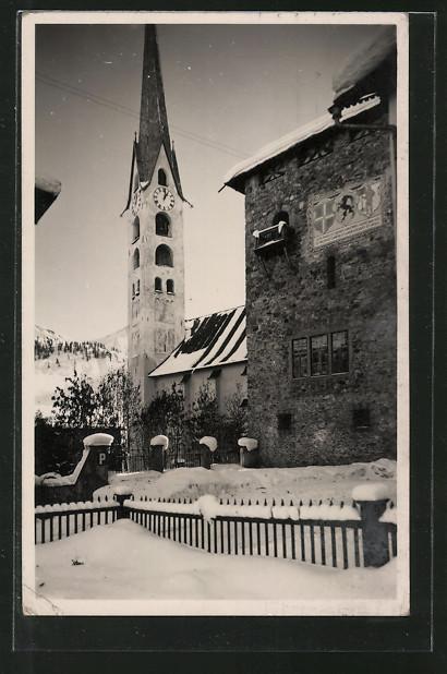 AK Zuoz, Winterpartie mit Kirche