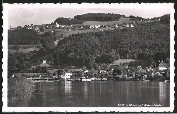AK Walzenhausen, Blick vom Rhein auf den Ort