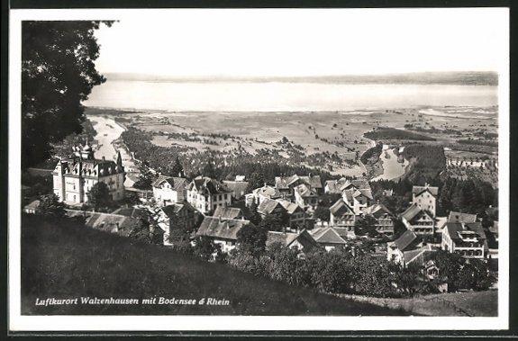 AK Walzenhausen, Panoramaansicht mit Blick auf den Rhein und den Bodensee