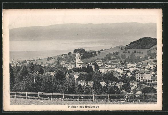AK Heiden, Blick nach der Kirche und den Bodensee