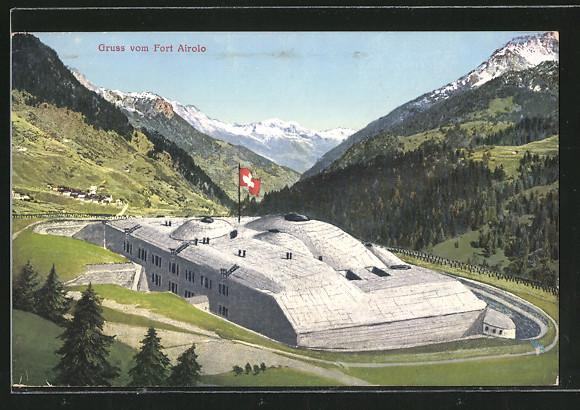 AK Airolo, Blick auf das Fort