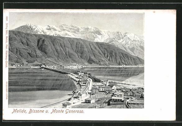 AK Melide, Ansicht mit Bissone und Monte Generoso