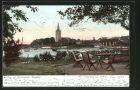 AK Mariestad, Stadtblick mit Kirchturm vom Ufer aus