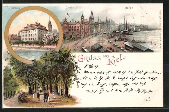 Lithographie Kiel, Hafen, Post, Schloss, Düsterbrooker Allee