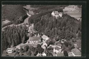 AK Waldburg, Ortsansicht mit Schloss vom Flugzeug aus