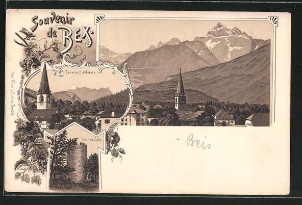 Lithographie Bex, Tour de Duin, les Diablerets, vue générale