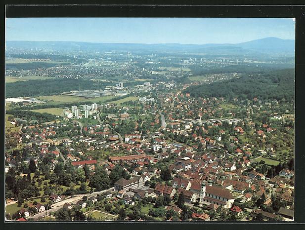 AK Arlesheim, Fliegeraufnahme von Ort und Umgebung