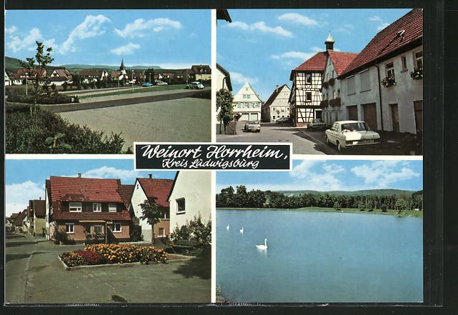 AK Horrheim, Dorfansicht mit Strassenpartie & Schwäne auf dem See