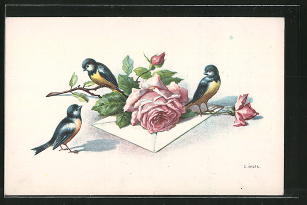Künstler-AK C. Öhler: Vögel sitzen auf einem Rosenzweig, Brief