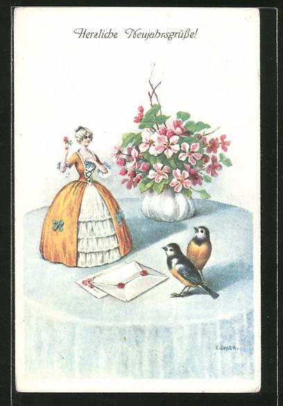 Künstler-AK C. Öhler: Frauenfigur, Briefe und Blaumeisen auf einem Tisch