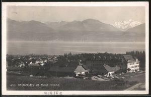 AK Morges, Ortsansicht mit See und Mont Blanc