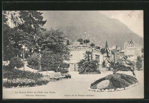 AK Territet-Montreux, le Grand Hotel et Hotel des Alpes, la Grande Terrasse