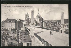 AK Lausanne, Le pont Bessières et la cathedrale, Radfahrer