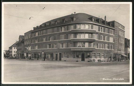 AK Dietikon, Löwenplatz mit Restaurant Löwen