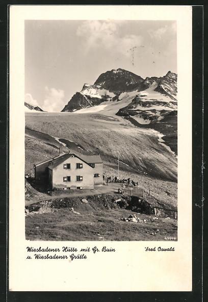 AK Wiesbadener Hütte, Berghütte mit Gr. Buin und Wiesbadener Grätle