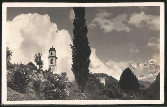 AK Soglio, Blick zu Kirche und Bondascagruppe