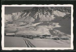 AK Mädrigen, verschneiter Ort am Berg