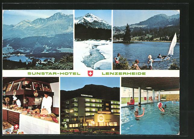AK Lenzerheide, Sunstar-Hotel, Aussen- u. Innenansichten, Segelboot