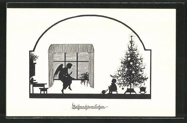 Künstler-AK Elsbeth Forck: Weihnachtsengel erzählt einem Kind ein Weihnachtsmärchen unterm Weihnachtsbaum