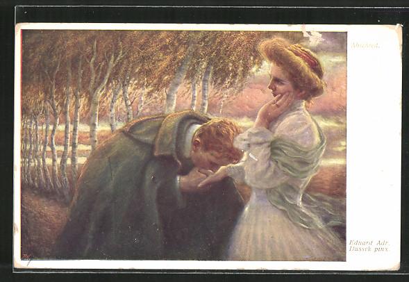 Künstler-AK Eduard Adrian Dussek: Mann küsst zum Abschied die Hand seiner Geliebten